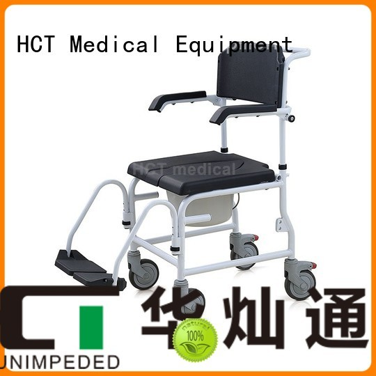 shower wheeled commode HCT Medical Brand commode chair for sale factory