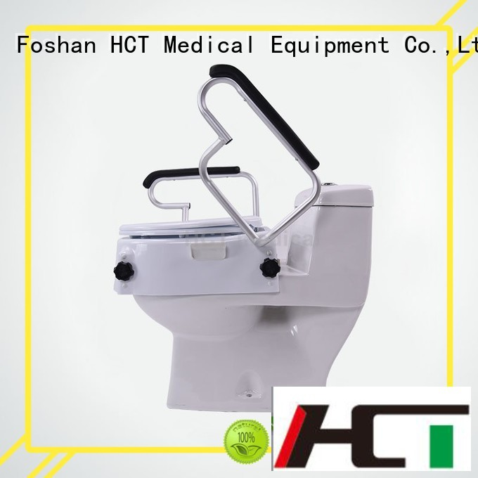 Custom 6 inch 4″ raised toilet seat HCT Medical handrails